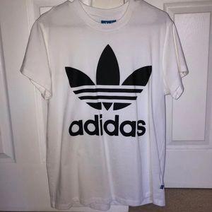 adidas white logo tee shirt